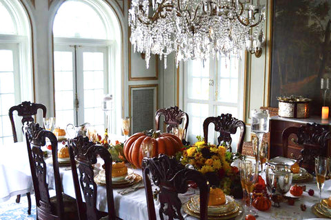 Traditional Thanksgiving Tablescape with Orange Pumpkins