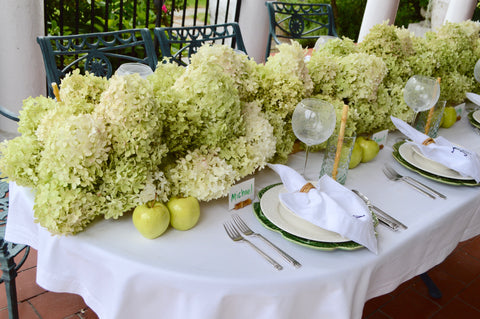 Chefanie Table Runner of Limelight Green and White Hydrangeas
