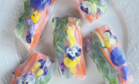 vegetable vegetarian vegan spring rolls with carrots scallions red cabbage and edible flowers