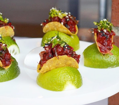chefanie tuna tartare tacos for catering appetizers passed hors doeuvres