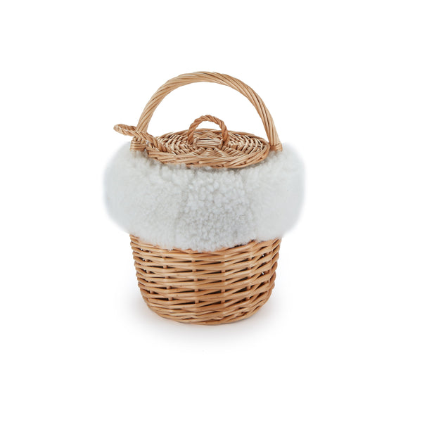 Mini Basket with Sustainable White Shearling - Chefanie