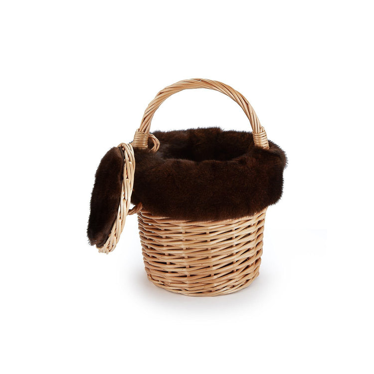 Mini Basket with Recycled Chocolate Mink