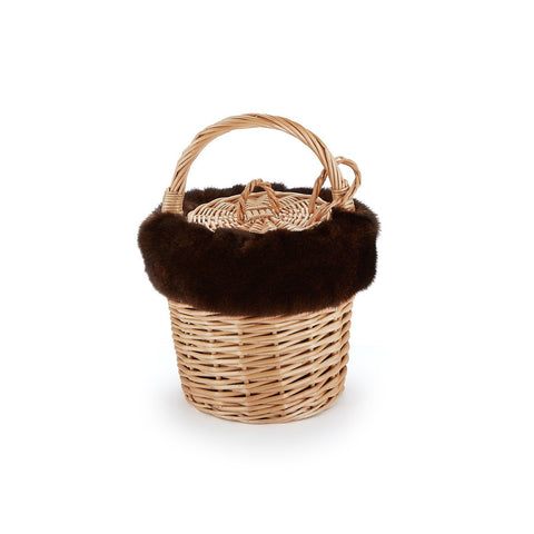 Mini Basket with Recycled Chocolate Mink - Chefanie
