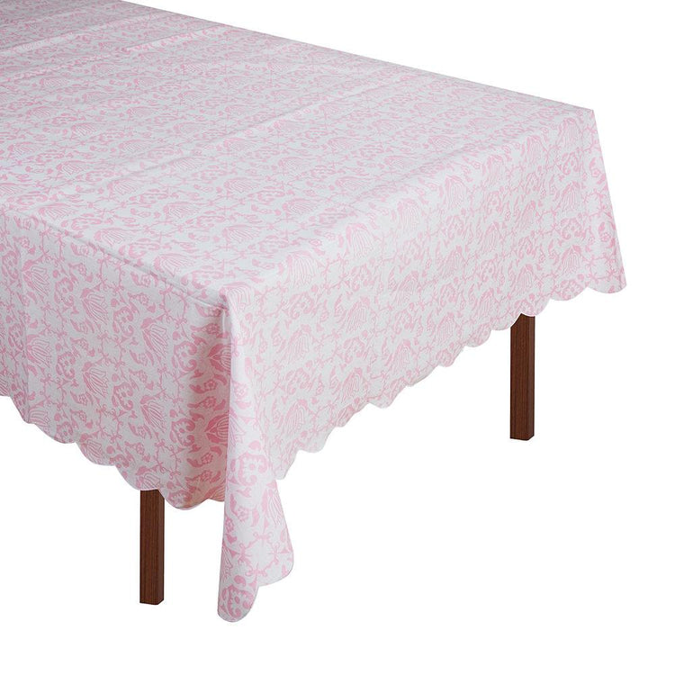 Pink & White Tablecloth