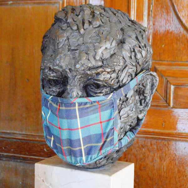 Blue Plaid Mask - Chefanie