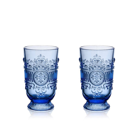Blue Embossed Highball Glasses (2)