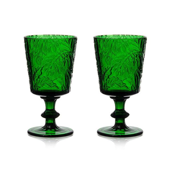 Green Embossed Stem Glasses (2) - Chefanie