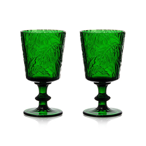 Green Embossed Stem Glasses (2)