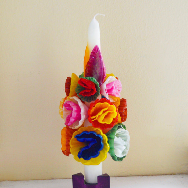 Medium Multicolored Flower Candle Candles Chefanie