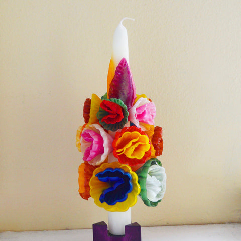 Medium Multicolored Flower Candle - Chefanie
