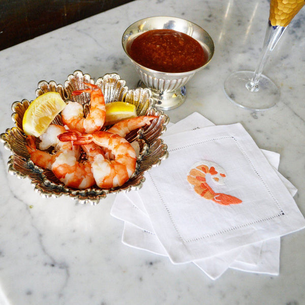 Shrimp Cocktail Cocktail Napkins, Set of 4 - Chefanie