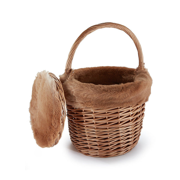 Basket with Sustainable Camel Shearling