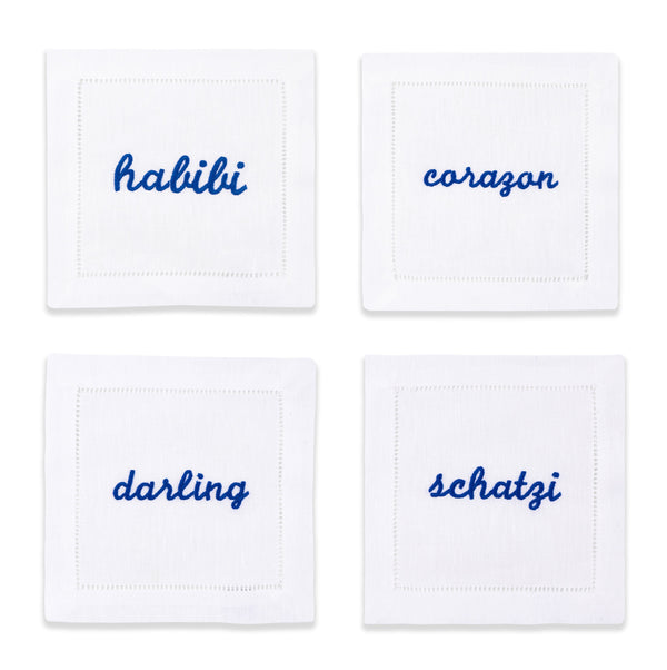 Blue Terms of Endearment Napkins, Set of 4 - Chefanie