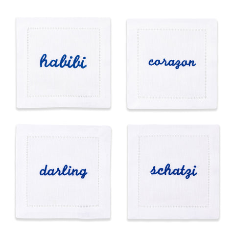 Blue Terms of Endearment Napkins, Set of 4