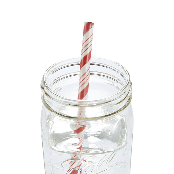 Red Stripe Ceramic Straws, Set of 4 - Chefanie