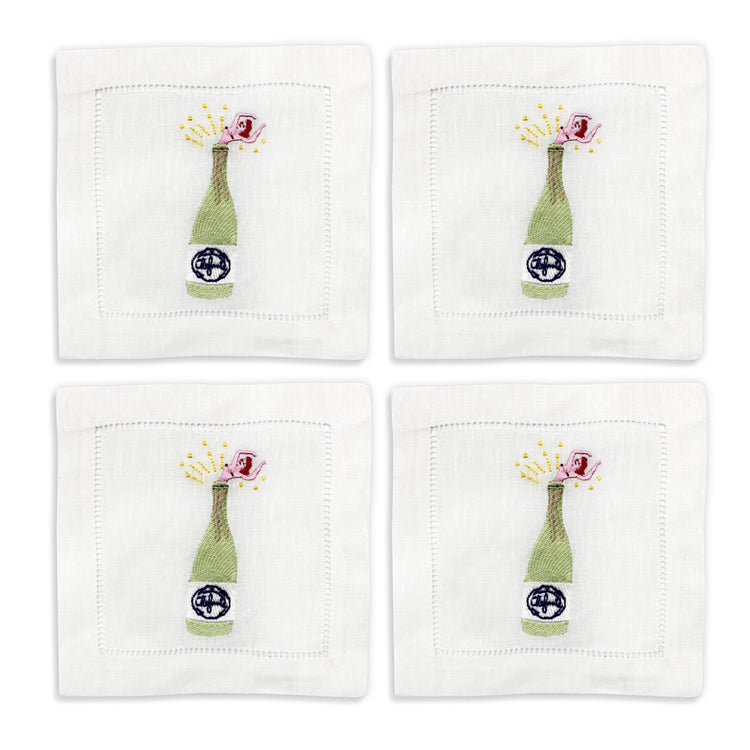 Champagne Girl Cocktail Napkins, Set of 4