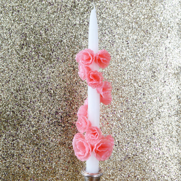 White & Pink Flower Candle Chefanie