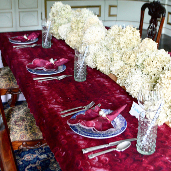 Burgundy Marble Tablecloth - Chefanie