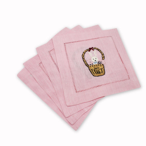 Bunny Basket Cocktail Napkins, Set of 4 - Chefanie
