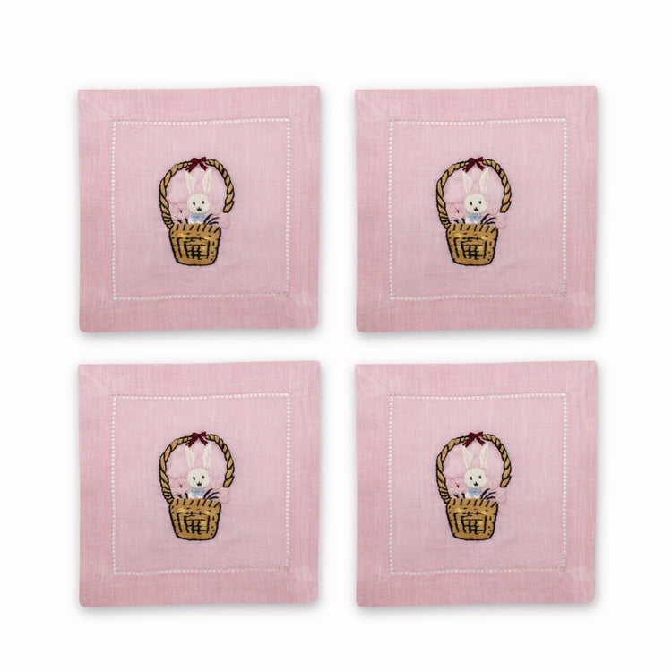 Bunny Basket Cocktail Napkins, Set of 4