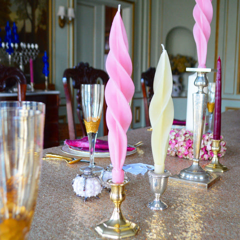 Pink Feather Candles (2) Chefanie