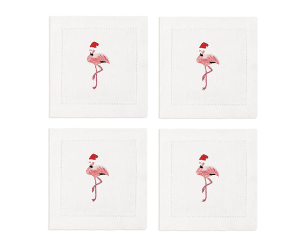 Santa Flamingo Cocktail Napkins, Set of 4 - Chefanie