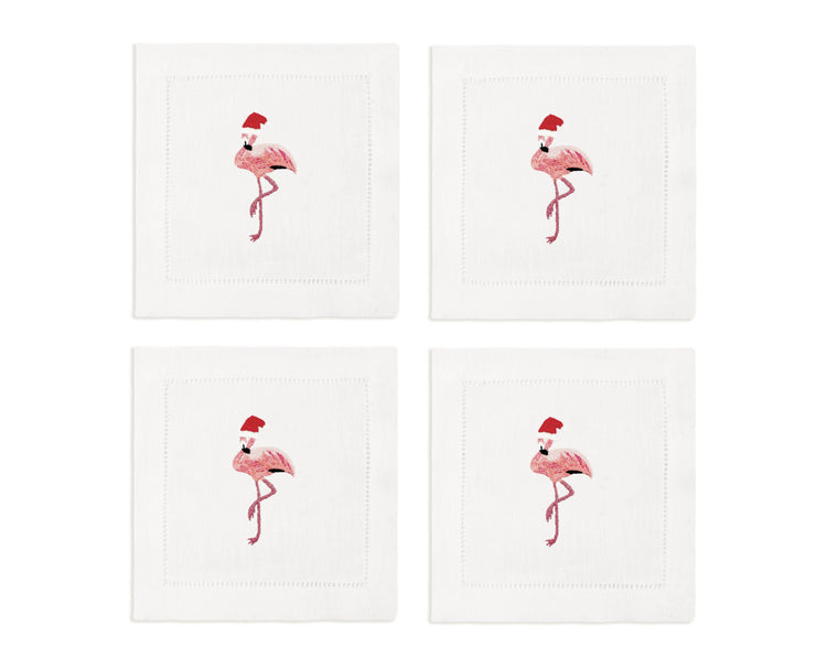 Santa Flamingo Cocktail Napkins, Set of 4