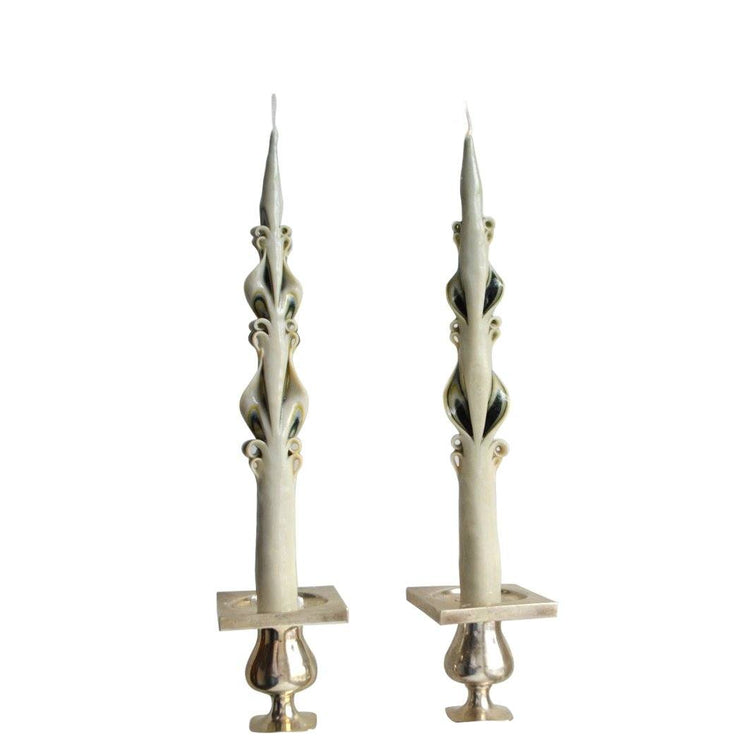 Green Edge Baroque Tapers (2)