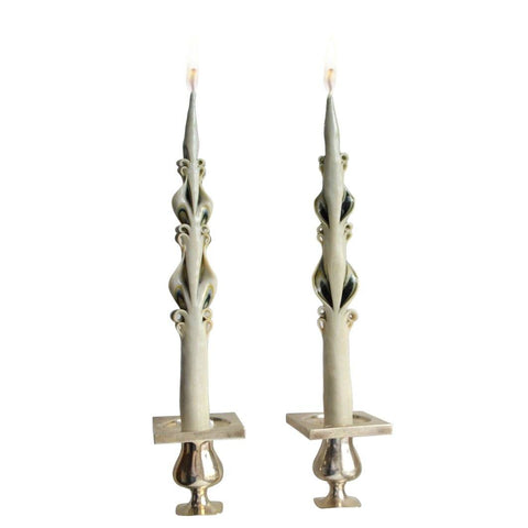 Green Edge Baroque Tapers (2) Chefanie