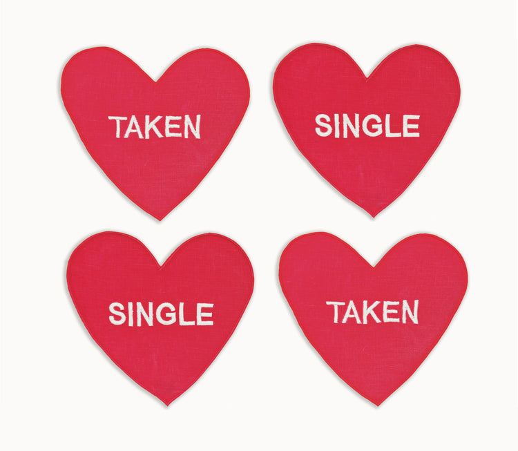 Single/ Taken Heart Cocktail Napkins, Set of 4