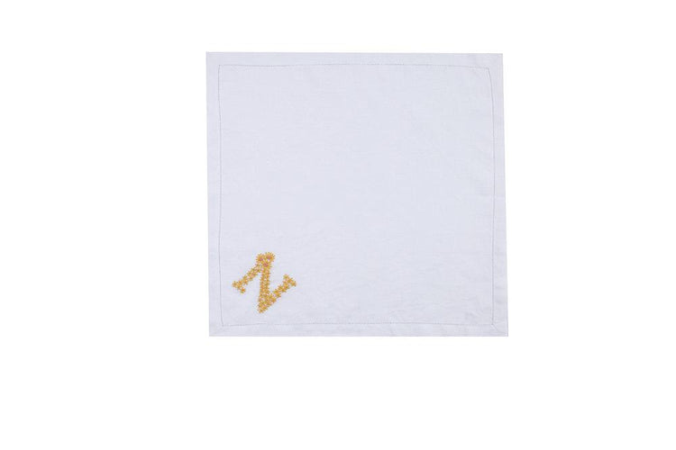 "Sunflower ""N"" Dinner Napkins, Set of 4 - Chefanie"