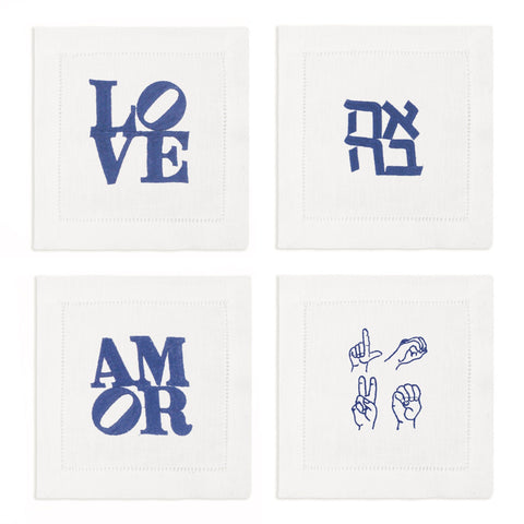 LOVE Cocktail Napkins, Set of 4