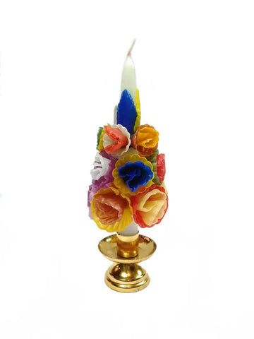 Medium Multicolored Flower Candle