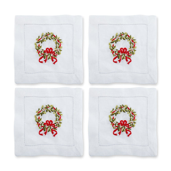 Pearl Wreath Cocktail Napkins, Set of 4