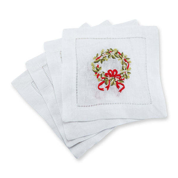 Pearl Wreath Cocktail Napkins, Set of 4 - Chefanie