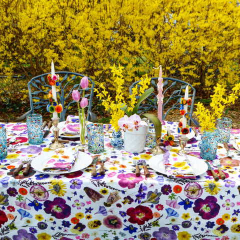 Pressed Flower Tablecloth Multicolored Chefanie