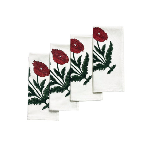 Red Poppy Napkins (4)