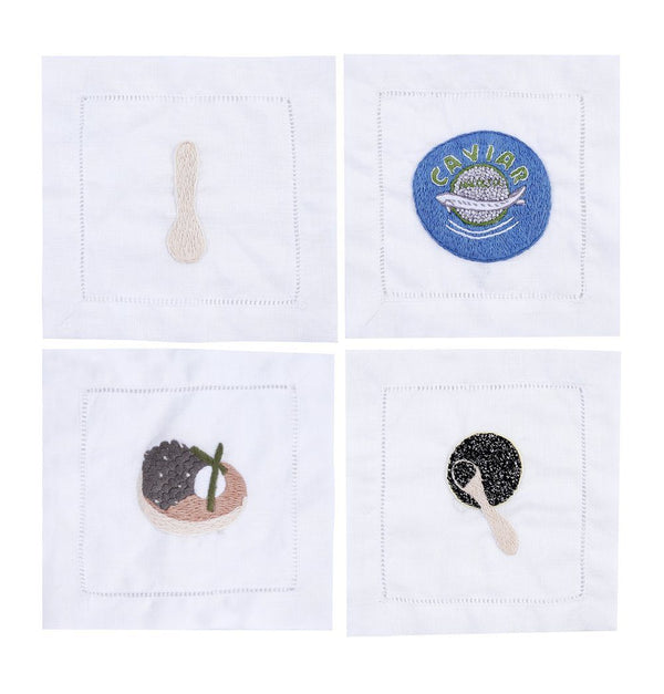 Caviar Cocktail Napkins, Set of 4 - Chefanie
