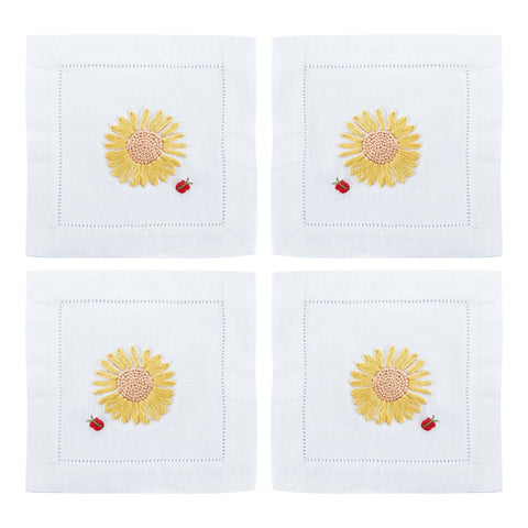 Sunflower Cocktail Napkins, Set of 4