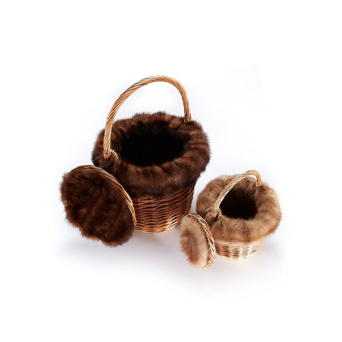 Basket with Recycled Chocolate Mink