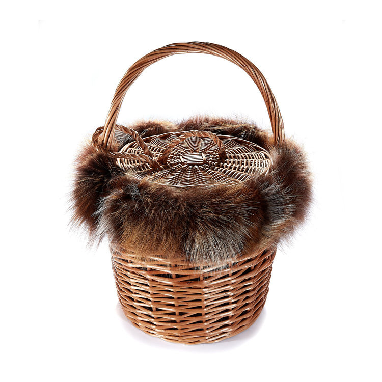 Basket with Recycled Fox Fur