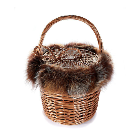 Basket with Recycled Fox Fur - Chefanie