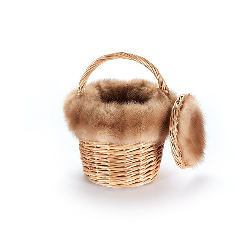 Mini Basket with Recycled Mink