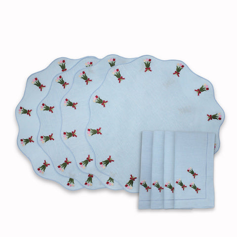 Embroidered Tulip Placemat and Napkin Set (4)
