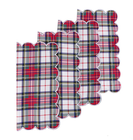 White Plaid Napkins, Set of 4
