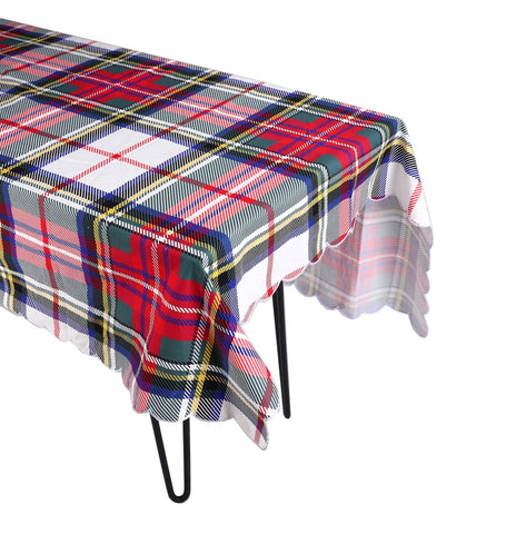White Plaid Tablecloth