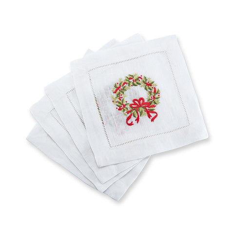 Wreath Cocktail Napkins, Set of 4