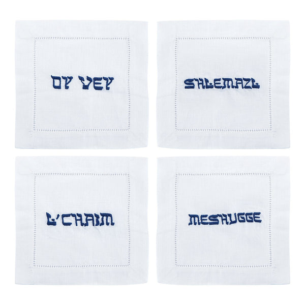 Oy Vey Yiddish Cocktail Napkins, Set of 4