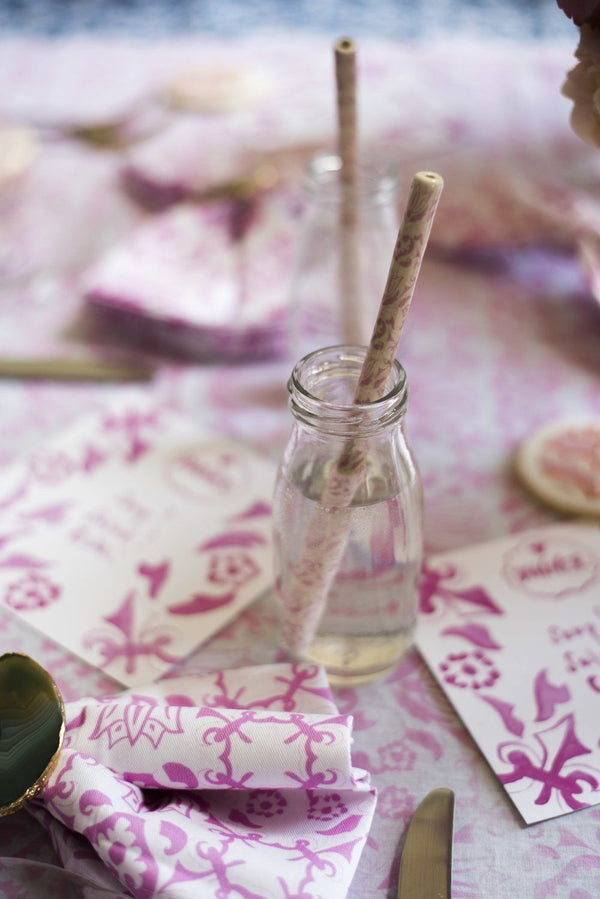 Pink & White Ceramic Straw