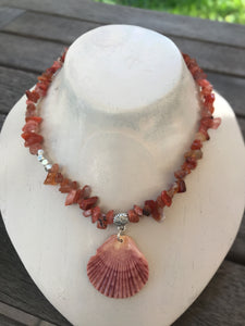 Oyster Shell and Coral Choker